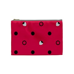Strawberry Dots Black With Pink Cosmetic Bag (medium)