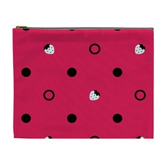 Strawberry Dots Black With Pink Cosmetic Bag (XL)