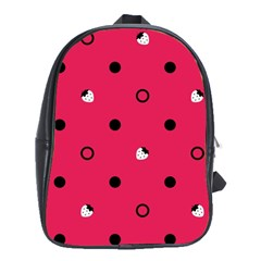 Strawberry Dots Black With Pink School Bag (Large)