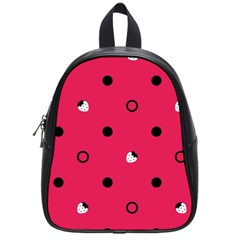 Strawberry Dots Black With Pink School Bag (Small)