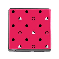 Strawberry Dots Black With Pink Memory Card Reader with Storage (Square)