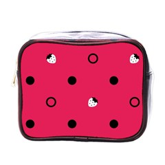 Strawberry Dots Black With Pink Mini Toiletries Bag (One Side)