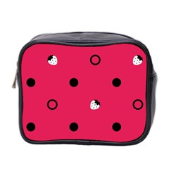 Strawberry Dots Black With Pink Mini Toiletries Bag (Two Sides)