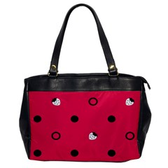 Strawberry Dots Black With Pink Oversize Office Handbag (one Side)