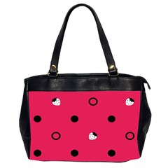 Strawberry Dots Black With Pink Oversize Office Handbag (Two Sides)