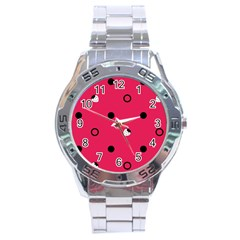 Strawberry Dots Black With Pink Stainless Steel Analogue Men's Watch