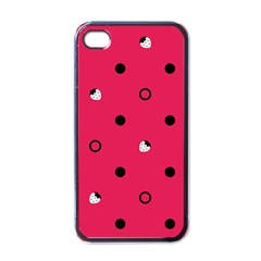 Strawberry Dots Black With Pink Apple iPhone 4 Case (Black)