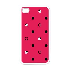 Strawberry Dots Black With Pink Apple Iphone 4 Case (white)