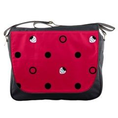 Strawberry Dots Black With Pink Messenger Bag