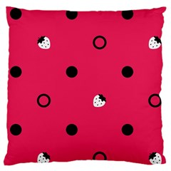 Strawberry Dots Black With Pink Large Cushion Case (One Side)