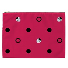 Strawberry Dots Black With Pink Cosmetic Bag (XXL)