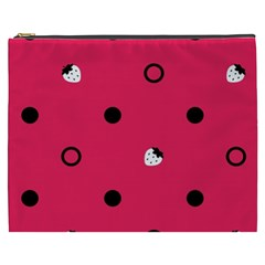 Strawberry Dots Black With Pink Cosmetic Bag (XXXL)
