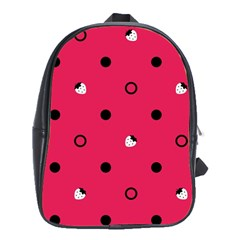 Strawberry Dots Black With Pink School Bag (XL)