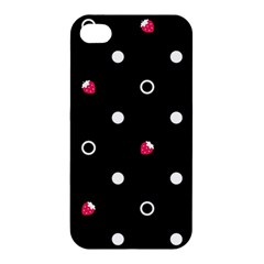 Strawberry Dots White With Black Apple Iphone 4/4s Hardshell Case