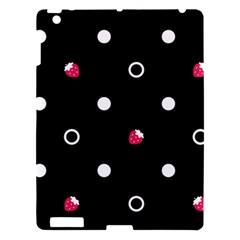 Strawberry Dots White With Black Apple iPad 3/4 Hardshell Case