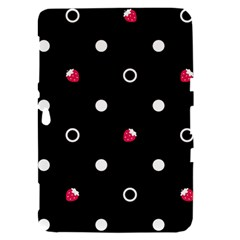 Strawberry Dots White With Black Samsung Galaxy Tab 8.9  P7300 Hardshell Case