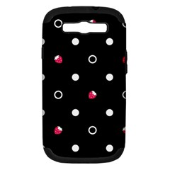 Strawberry Dots White With Black Samsung Galaxy S Iii Hardshell Case (pc+silicone)