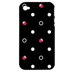 Strawberry Dots White With Black Apple Iphone 4/4s Hardshell Case (pc+silicone)