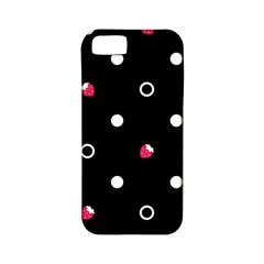 Strawberry Dots White With Black Apple Iphone 5 Classic Hardshell Case (pc+silicone)