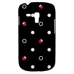 Strawberry Dots White With Black Samsung Galaxy S3 Mini I8190 Hardshell Case