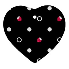 Strawberry Dots White With Black Ornament (Heart)