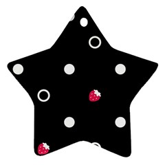 Strawberry Dots White With Black Ornament (star)