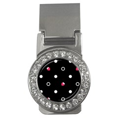 Strawberry Dots White With Black Money Clip (CZ)