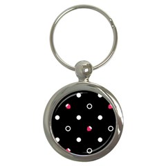 Strawberry Dots White With Black Key Chain (round)