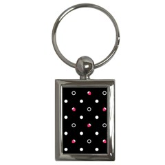 Strawberry Dots White With Black Key Chain (rectangle)