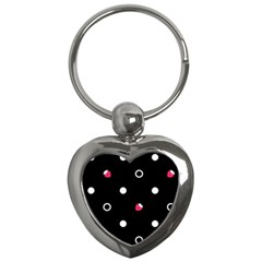 Strawberry Dots White With Black Key Chain (Heart)