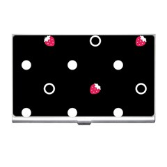 Strawberry Dots White With Black Business Card Holder