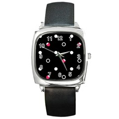 Strawberry Dots White With Black Square Metal Watch