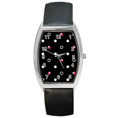 Strawberry Dots White With Black Barrel Style Metal Watch
