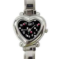Strawberry Dots White With Black Heart Italian Charm Watch