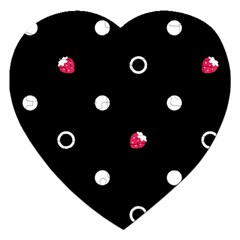 Strawberry Dots White With Black Jigsaw Puzzle (heart)