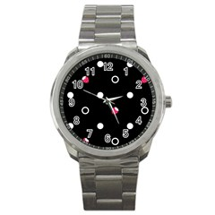 Strawberry Dots White With Black Sport Metal Watch