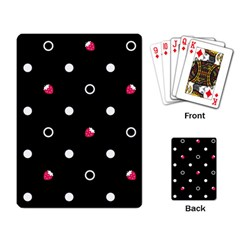 Strawberry Dots White With Black Playing Cards Single Design