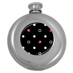 Strawberry Dots White With Black Hip Flask (5 oz)