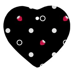 Strawberry Dots White With Black Heart Ornament (Two Sides)