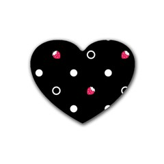 Strawberry Dots White With Black Rubber Coaster (heart)