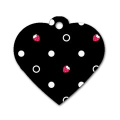 Strawberry Dots White With Black Dog Tag Heart (One Side)