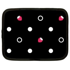 Strawberry Dots White With Black Netbook Case (large)