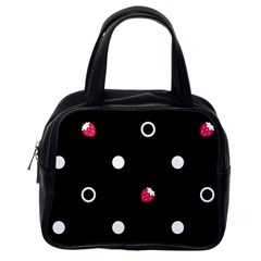 Strawberry Dots White With Black Classic Handbag (one Side)