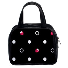Strawberry Dots White With Black Classic Handbag (two Sides)
