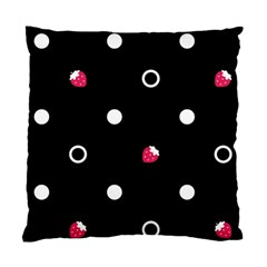 Strawberry Dots White With Black Cushion Case (One Side)