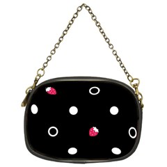 Strawberry Dots White With Black Chain Purse (Two Sides)