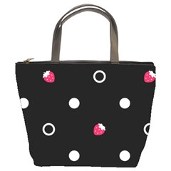 Strawberry Dots White With Black Bucket Bag