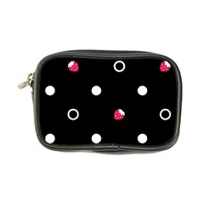 Strawberry Dots White With Black Coin Purse