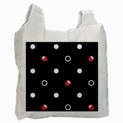 Strawberry Dots White With Black Recycle Bag (One Side)