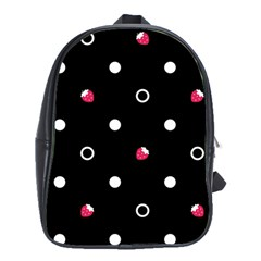 Strawberry Dots White With Black School Bag (Large)